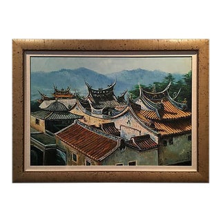 Pagoda Rooftop Landscape Oil Painting With Larson Juhl Frame