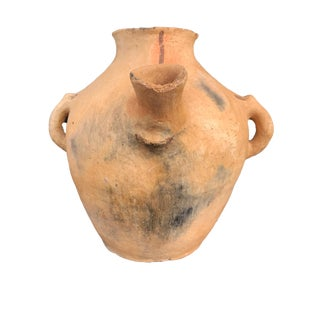 "Lg Moroccan Vtg Tuareg Terracota Clay Decorative Pot 16.5"" H For Sale"