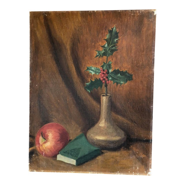 Art Deco Still Life With Festive Holly Branch For Sale