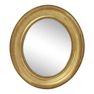 Louis Philippe Oval Framed Gilt Mirror For Sale