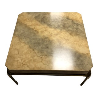 1950s Brutalist John Widdicomb Stone and Brass Coffee Table For Sale