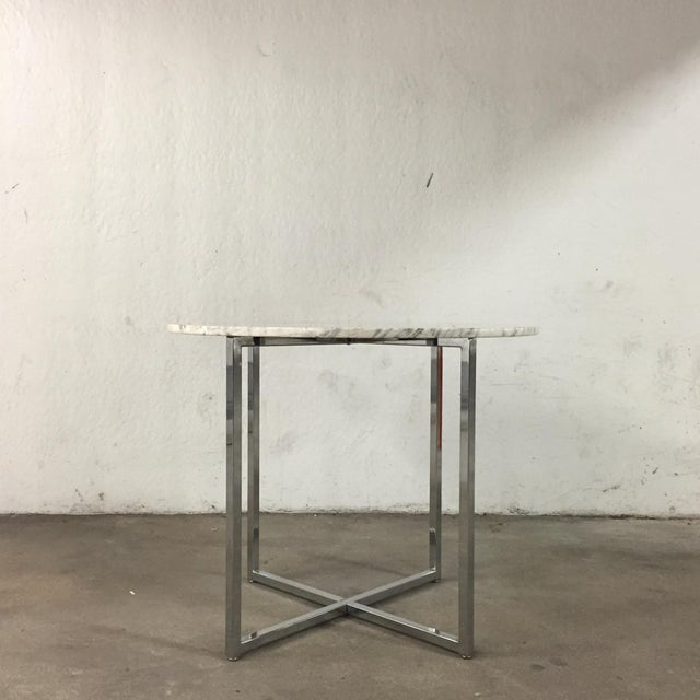 Marble Side Table with Chrome Base For Sale - Image 5 of 5