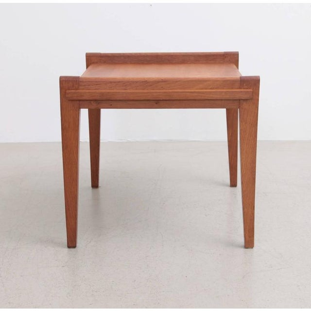 French Rare Rene Gabriel Side Table in Solid Oak For Sale - Image 3 of 7