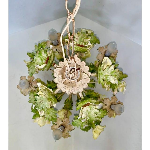 Green 1940s Italian Porcelain Floral Vintage Toile Chandelier For Sale - Image 8 of 12