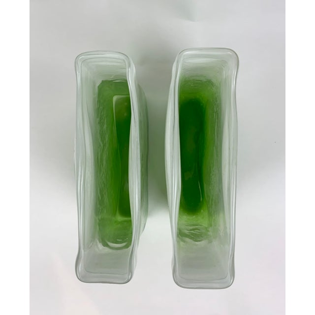 Green Henry Dean Rectangular Glass Vases - a Pair For Sale - Image 8 of 13