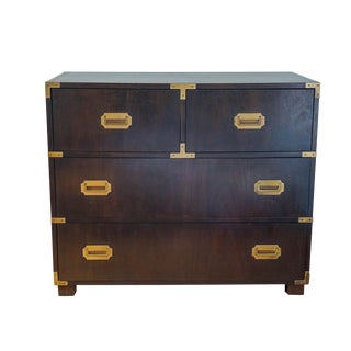 Baker Mid-Century Campaign Mahogany Chest of Drawers For Sale