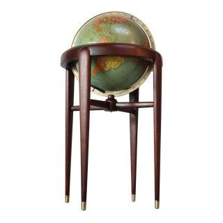 1960s Replogle Illuminated Glass Globe on Mahogany Stand For Sale