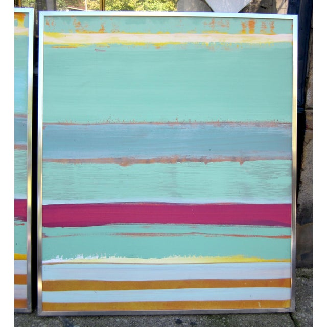 """2 SOLD - 2 REMAINING. This is a pair of TWO """"matching"""" but unique large format acrylic paintings on board. They stand..."""