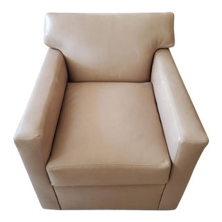 MT Company Leather Swivel Armchair For Sale