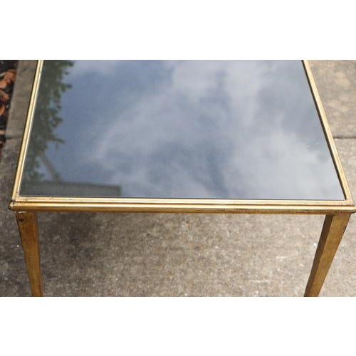 Maison Janson Style Brass Coffee Table With Smoked Glass For Sale - Image 4 of 9