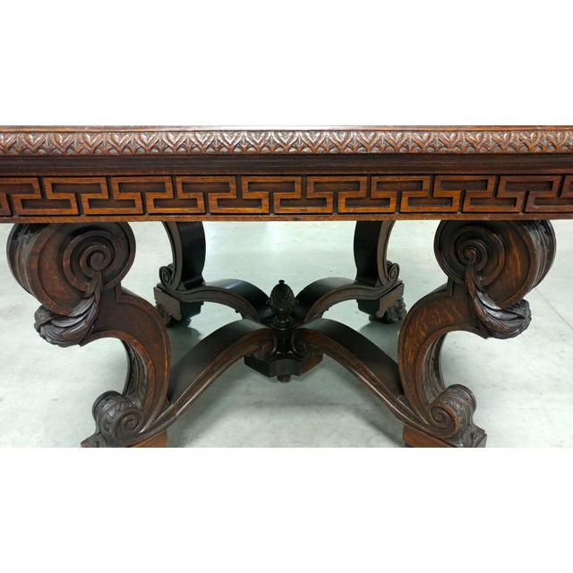 Antique Lion Foot Oak Center Table For Sale In Los Angeles - Image 6 of 10
