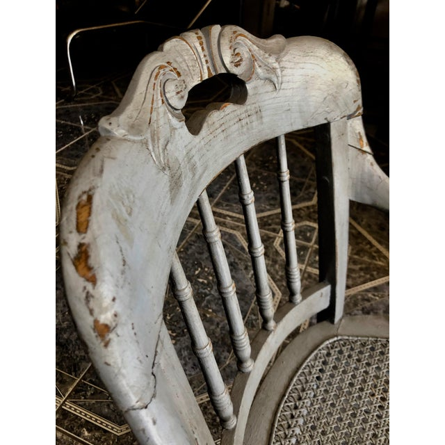 1940s Vintage Shabby Chic Lilac Wood and Cane Accent Chair For Sale - Image 12 of 13