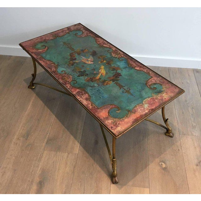 Neoclassical Coffee Table With Gilt Base and Reverse Painted Mirror Top - Image 4 of 11