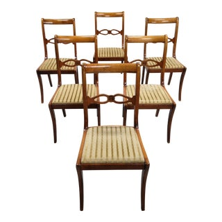 Gold Striped Velvet Set of 6 French Mid 20th-Century Art Deco Dining Chairs For Sale