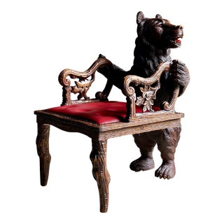 Antique Black Forest Carved Bear Hall Chair Armchair, 19th Century, circa 1875 For Sale