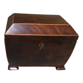 English Regency Mahogany Coffer Shaped Tea Caddy Box For Sale