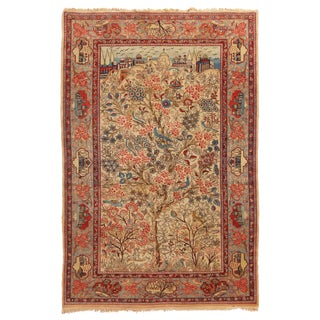 1910s Antique Kashan Blue and Beige Wool Persian Rug-4′6″ × 7′1″ For Sale