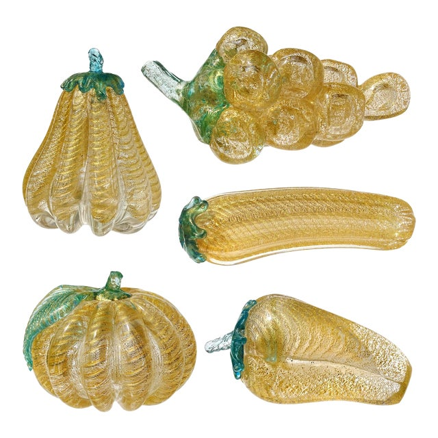 Barovier Toso Murano Vintage Gold Flecks Italian Art Glass Mid Century Grapes Gourds Pepper Fruits - Set of 5 For Sale