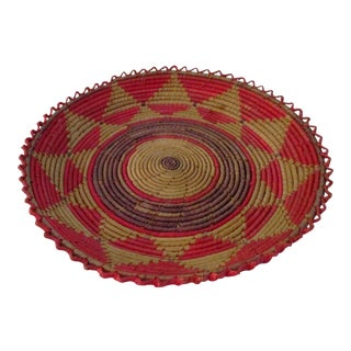 Vintage African Round Woven Shallow Basket For Sale