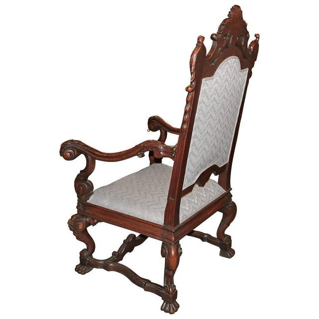 Spanish Hand-Carved Wood With 24-Karat Gold-Plated Bronze Emblem Kings Chair - Image 6 of 11