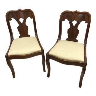 1920s Victorian Cream Cushion Mahogany Side Chairs - a Pair