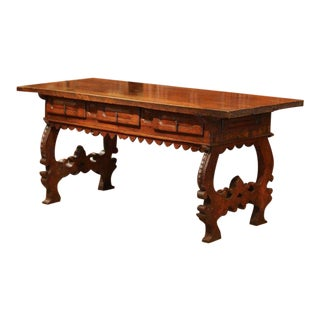 Important 18th Century Spanish Carved Walnut Console Table With Secret Drawers