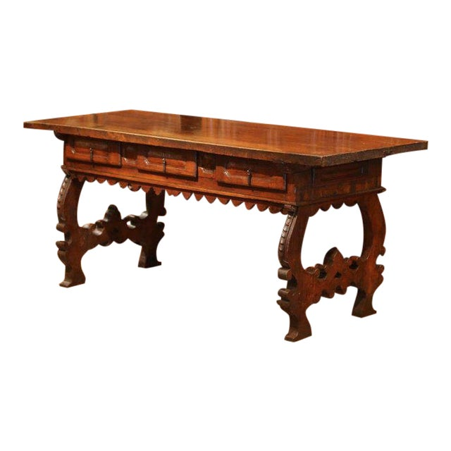 Important 18th Century Spanish Carved Walnut Console Table With Secret Drawers For Sale