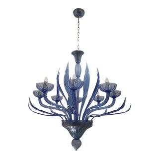Contemporary Murano Blue Glass Chandelier