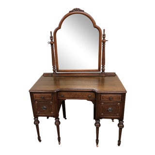 1920s Traditional Bronze and Wood Parlor Vanity