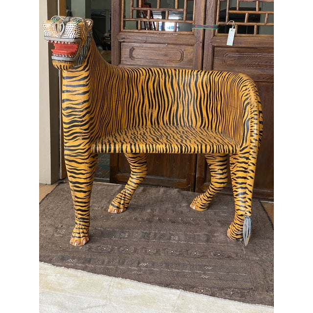 Very unique decorative Bengal Tiger Tub Chair in solid wood and paint. Very comfortable and solid with nice patina. 2...