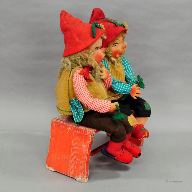 A Pair Of Whimsical Handmade Felt Gnomes, Germany Ca. 1930 For Sale - Image 6 of 9