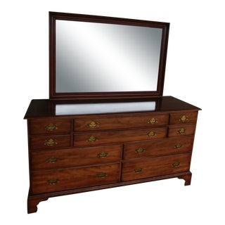 Henkel Harris Cherry Chippendale Style Dresser and Mirror 66w For Sale
