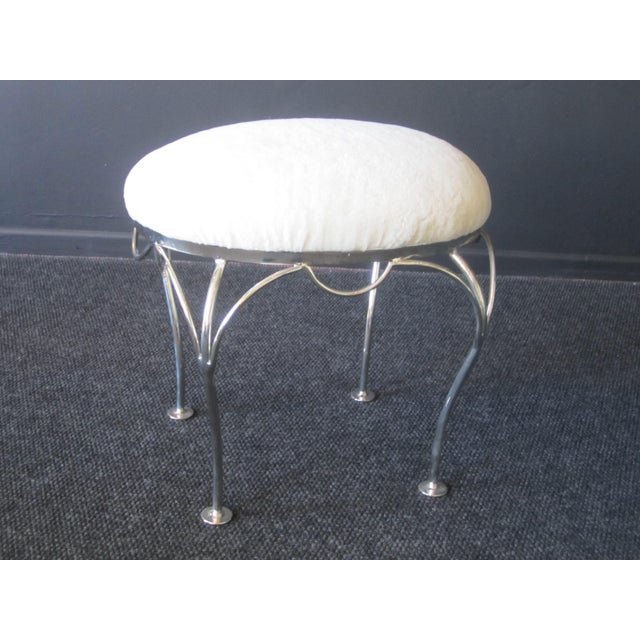 Hollywood Regency Nickel Plated and Shearling Vanity Stool For Sale - Image 3 of 8