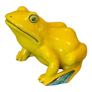 Italian Neon Yellow & Green Ceramic Pottery Fountain Frog Outdoor Sculpture For Sale