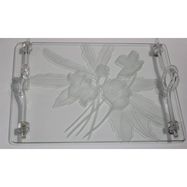 1940s Etched Glass Anemone Flower Vanity Tray With Decorative Lucite Faux-Handles For Sale - Image 11 of 11