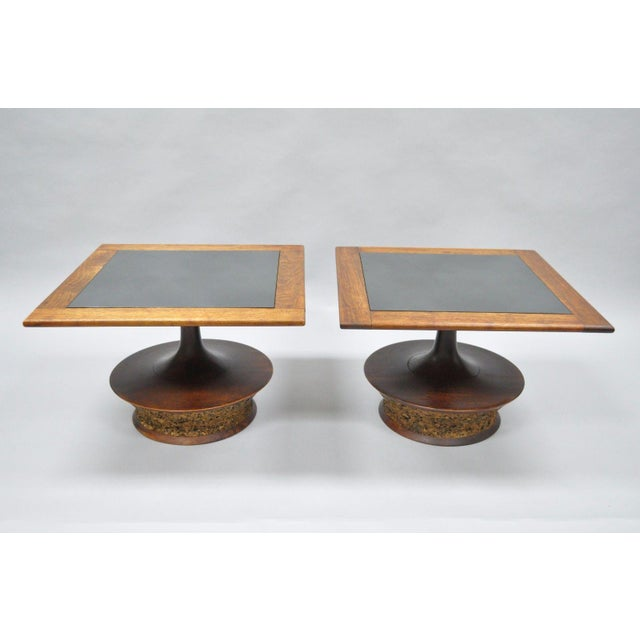 Danish Modern Pair of Vintage Mid Century Modern Cork Sculpted Walnut Glass Square Low Side Tables For Sale - Image 3 of 11