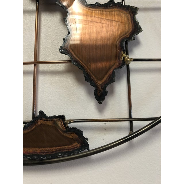 1970s Mid-Century World Copper Wall Hanging For Sale - Image 5 of 7
