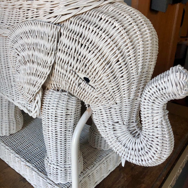 Hollywood Regency Vintage White Wicker Elephant Side Table For Sale - Image 3 of 7