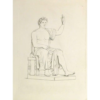 Antique Italian Copper Engraving - Roman Male Statue For Sale