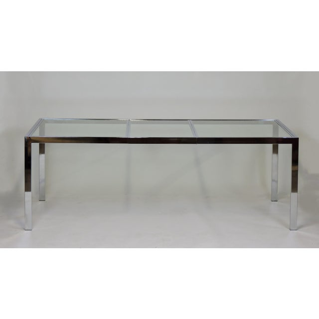 Mid-Century Modern Design Institute America Dia Mid-Century Modern Extendable Chrome Dining Table For Sale - Image 3 of 11
