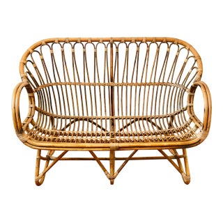 1960s Vintage Franco Albini-Attributed Rattan + Bamboo Sculptural Settee For Sale