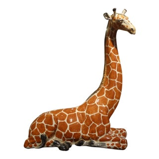 Italian Glazed Terra Cotta Giraffe Figure For Sale
