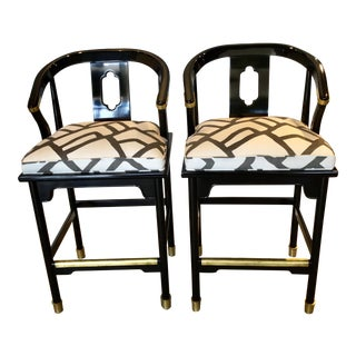 Two Pair of 1970s Vintage Ming Barstools For Sale