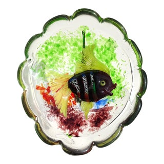 Cenedese Murano Vintage Red Silver Leaf Italian Art Glass Decorative Sculptural Fish Bowl For Sale