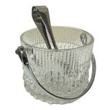 Image of Vintage Glass Ice Bucket with Tongs For Sale