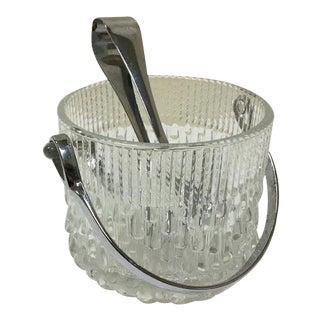 Vintage Glass Ice Bucket with Tongs For Sale