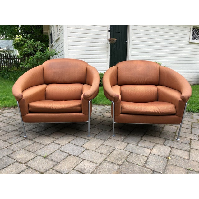 Mid-Century Modern 1980s Vintage Milo Baughman for Thayer Coggin Boldido Lounge Chairs - a Pair For Sale - Image 3 of 12