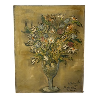 1954 Expressive Floral Still Life Painting For Sale