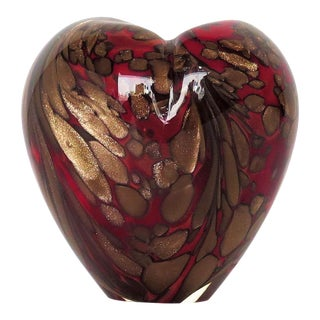 Ruby Red Murano Glass Heart Vase For Sale