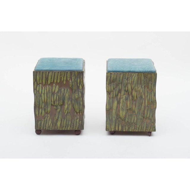 Phillip Lloyd Powell Painted Hand-carved Stools With Abstract Patterned Textile - Image 2 of 7